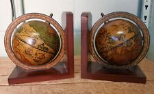 Pair of Wooden Revolving Globe Bookends WH337