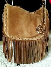 MICHAEL KORS DAKOTA COGNAC MEDIUM LEATHER HOBO FRINGE Shoulder BAG PURSE suede