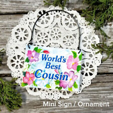 Cousin Gift Ornament Mini Sign Family Reunion Decorative Greetings DecoWords