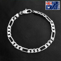 Mens Womens 925 Sterling Silver Filled Solid 6MM Curb Figaro Link Chain Bracelet