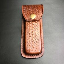"5 5/8"" Genuine Brown Leather 110 Hunter Folding Knife Tool Belt Sheath Pouch"