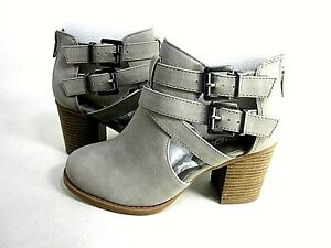 Soda Womens Scribe Ankle Bootie, Grey, US Size 5.5 Medium, New In Box