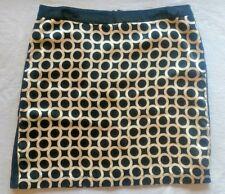 ECI New York silk Skirt Womens Size 10 Straight Pencil black gold Career mini