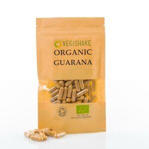 Organic Guarana HPMC Capsules 39g Caffeine per gram Energy Stamina Vegan Kosher