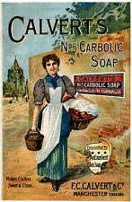 Vintage  Advertising poster  A4 Photo RE PRINT Calverts No 5 Carbolic Soap