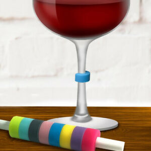 8Pcs/Set Wine Glass Marker Rings Silicone Wine Drink Markers Charm Tags Rings CB