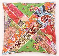 Indien Patchwork Coussin Décoratif Housse Kantha Coton Canapé Décor 40.6cm