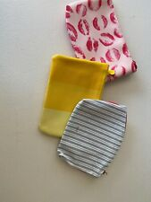 Lot Of 3 Ipsy Cosmetic Makeup Small Bags Pink Blue Yellow Kiss Stripe FREE SHIP