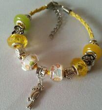 Little Girls Yellow Braided Leather Animal Bird Charm Bracelet Children Us