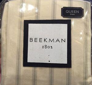 $200 NEW! BEEKMAN 1802 Sangerfield Queen Sham Ivory Pillow Sham SET OF TWO 20x30