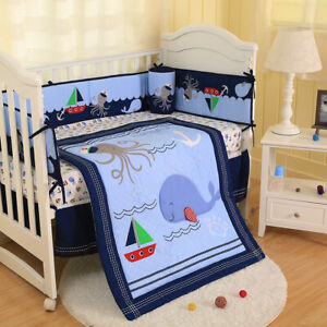 7PCS Boys Baby Bedding Set Nursery Happy Ocean Quilt Bumper Infant Crib Skirt
