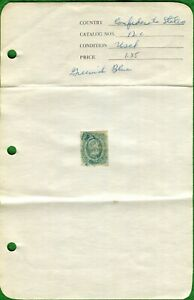 CSA STAMP #12c 10 CENT GREENISH-BLUE ~ 1863-64  ~ KEATINGE & BALL PRINT ~ USED