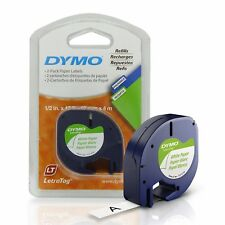 "2 Pack Dymo 10697 White Paper Refill Tapes 1/2""x13ft LetraTag NIB Free Shipping"