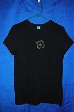 Womans Black Knit Top w Shamrock Embellishment Size M