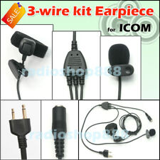3 wire kit Earpiece have 3.5mm headphone jack for ICOM IC-T90A, IC-U12  4-091S
