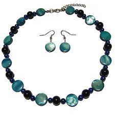 Parure Collier Ras De Cou Boucles d'oreilles Nacre et perles bleu nuit et clair