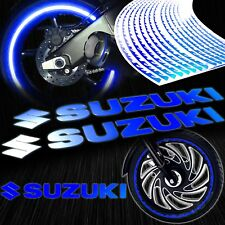 "8"" Reflective Logo Decal+Fire/Flame Rim Tape/Wheel Stripe Sticker Suzuki Blue"