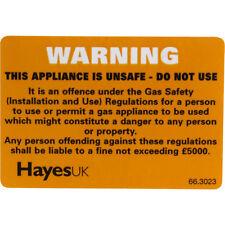 Nouveau dangereux appareil warning label, gaz sécurité, cuisine, cuisinière, chaudière, 10 pack