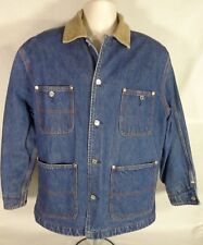 Ralph Lauren Polo Vintage Denim Barn Chore Coat Trucker Jacket Red Plaid Lined L