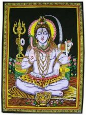 "Beautiful Meditating Shiva Yoga Tapestry 43"" X 30"" Tapestry Poster size DIWALI"