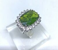 Silver 925 Cocktail Ring Green Stone and CZ Crystals Size 6.5