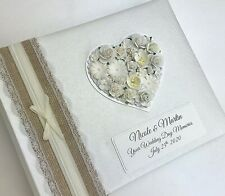 Luxury Personalised Wedding Photo Album, Any Colour, Floral Heart
