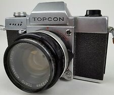 Vintage Topcon Uni 35 MM Film Camera w/ Lens Leather Case & Lens Cover Untested