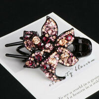 Slide Crystal Comb Clips Grips Pins Hair Accessories Hairpin Flower Women's
