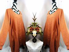 Flax Dress Size Medium Vintage Linen Long Sleeve Button Coral Orange Womens M