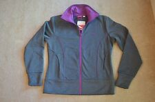 Women's Clothing Puma Gray Purple Trim Jacket Full Zipper Poly Fleece S Logo Pck