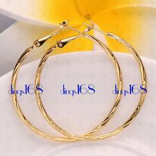 "Medium-Size Twisted Hoop Earrings Hg8-Yellow Women's 18K Gold Filled 45mm/1.7"""