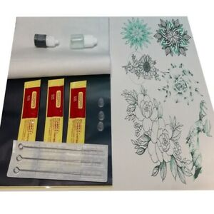 Tattoo Kit Hand Stick & Poke Ink Needles Alcohol Cups Aftercare Stencil Paper UK