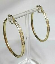 Genuine 9ct gold Creole Hoop CZ, extra LARGE earrings (not filled or plated)