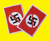 Anti Nazi 2 Stück gestickter Aufnäher- Embroidered Patch Rot Red