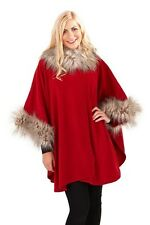 Fabulous Red FAUX FUR Trimmed Fleece Wrap Cape with Button Fastening FREESIZE