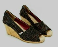 Toms Black Plaid Open Toed Wedges Heels Womens Size 8.5 Canvas Shoes Peep Toe