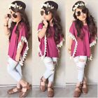 2PCS Toddler Little Kid Baby Girl Outfits T-shirt Tops + Denim Pants Clothes Set