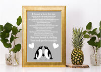 Penguin Ed Sheeran Perfect inspired lyric song print a4 lovely gift valentines