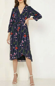 NWT Ted Baker Womens Floral Midi Wrap Dress 3/4 Sleeve Navy Size 2