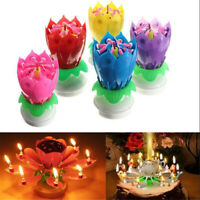 Birthday Party Musical Charming Lotus Flower Rotating Happy Lights Candle Gift