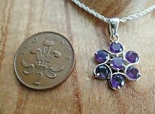 Sterling Silver & Amethyst Flower Necklace February Birthstone