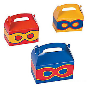 Superhero Party Treat Box Colourful Masks Favour Super Heroes Gift Box Pk of 6