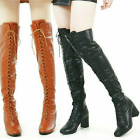 Women Winter Thigh High Over the Knee Boots Lace Up Riding Mid Chunky Oxfords