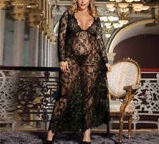 Women Sexy Lace Lingerie Babydoll Transparent Long Sleeve Dress Plus Size