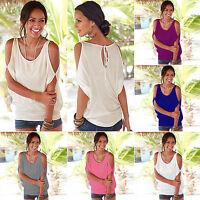 AU Women Summer Cold Shoulder Loose Short Sleeves Blouse Tops T-Shirt Plus Size