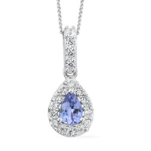 Tanzanite, Cambodian Zircon Platinum Over Sterling Silver Pendant With Chain 20""