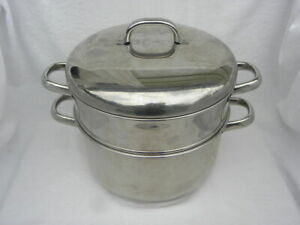 Epicure Essentials Stainless Cookware 6 Qt Dutch Oven Stock Pot Strainer Steamer