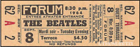 1  BEATLES VINTAGE UNUSED FULL CONCERT TICKET 1964 Montreal Quebec  laminated