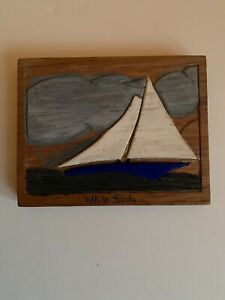 Vintage Hand Carved Painted White Sails Sailboat Relief Folk Art Plaque 1960s