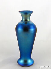 Durand Art Glass 1707 D Iridescent Silver Blue Vase - Ca. 1925